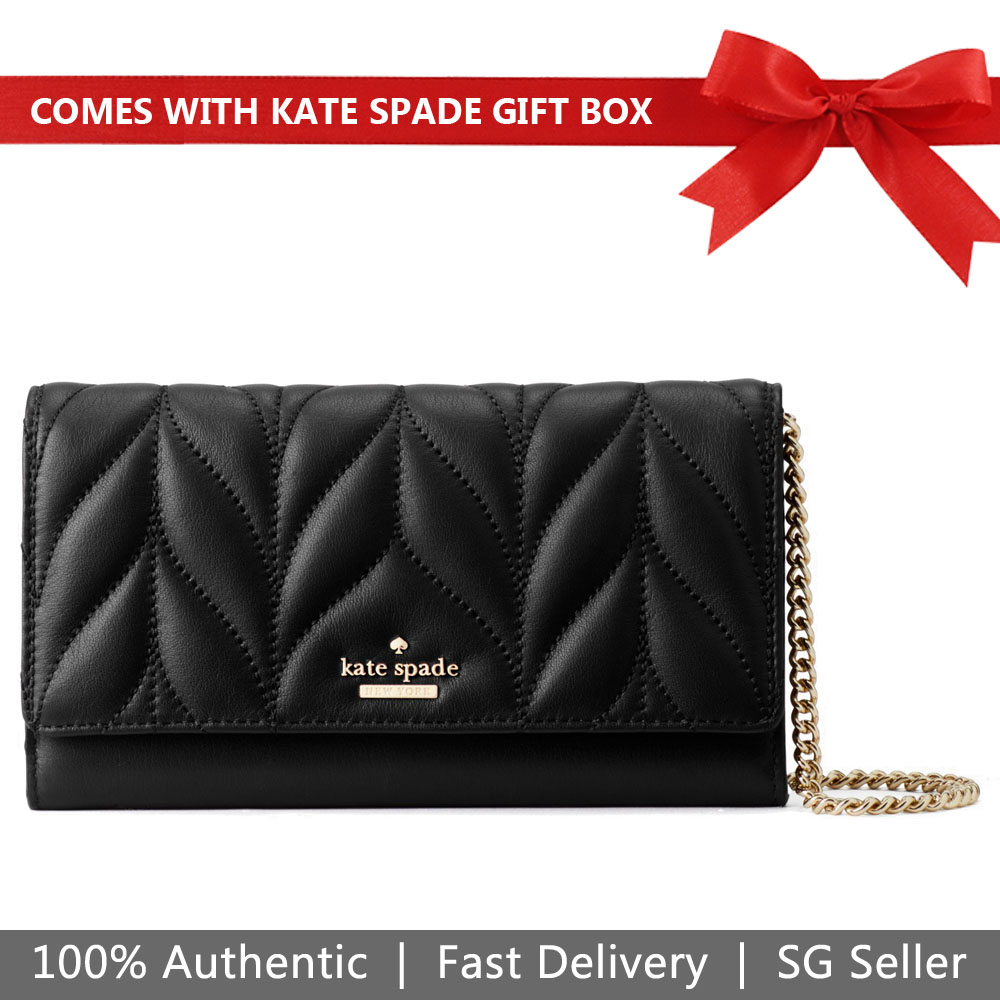 Kate Spade Clutch In Gift Box Briar Lane Quilted Milou Wallet Small Bag Clutch Black # WLRU5131