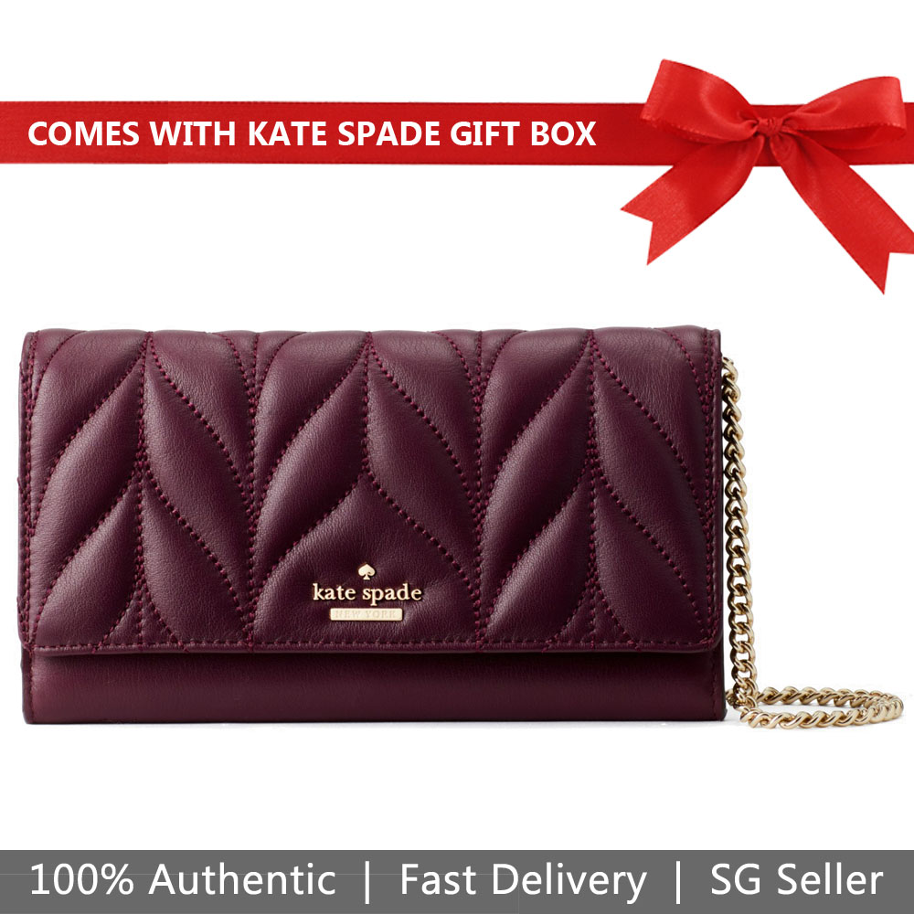 Kate Spade Clutch In Gift Box Briar Lane Quilted Milou Wallet Small Bag Deep Plum Purple # WLRU5131