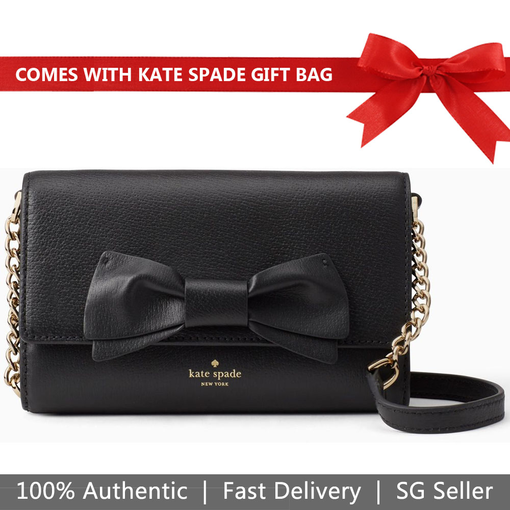 Kate Spade Crossbody Bag Clutch With Gift Bag Olive Drive Corin Black # PXRU5881