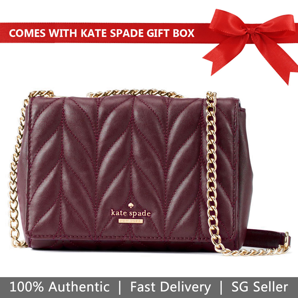 Kate Spade Crossbody Bag In Gift Box Briar Lane Quilted Mini Emelyn Deep Plum Purple # WKRU5572