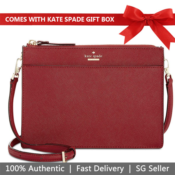 Kate Spade Crossbody Bag In Gift Box Cameron Street Clarise Crossbody Sienna Dark Red # PXRU7507