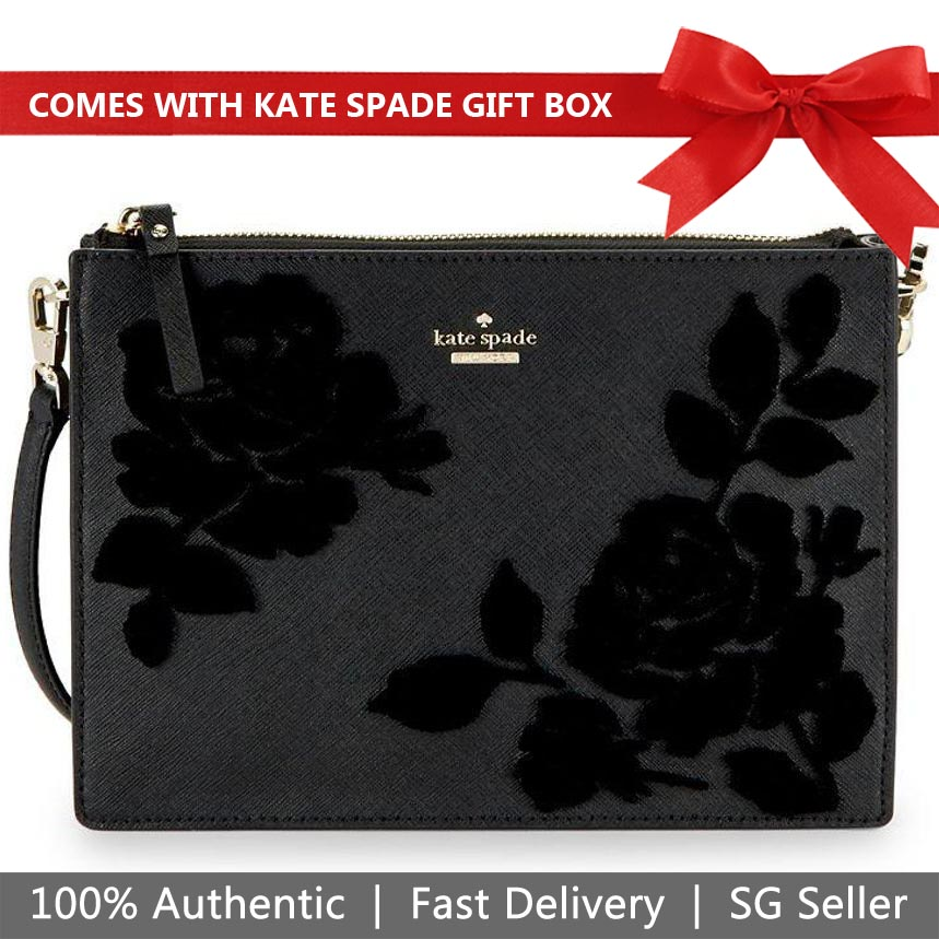 Kate Spade Crossbody Bag In Gift Box Cameron Street Flock Roses Clarise Crossbody Black # PXRU9150