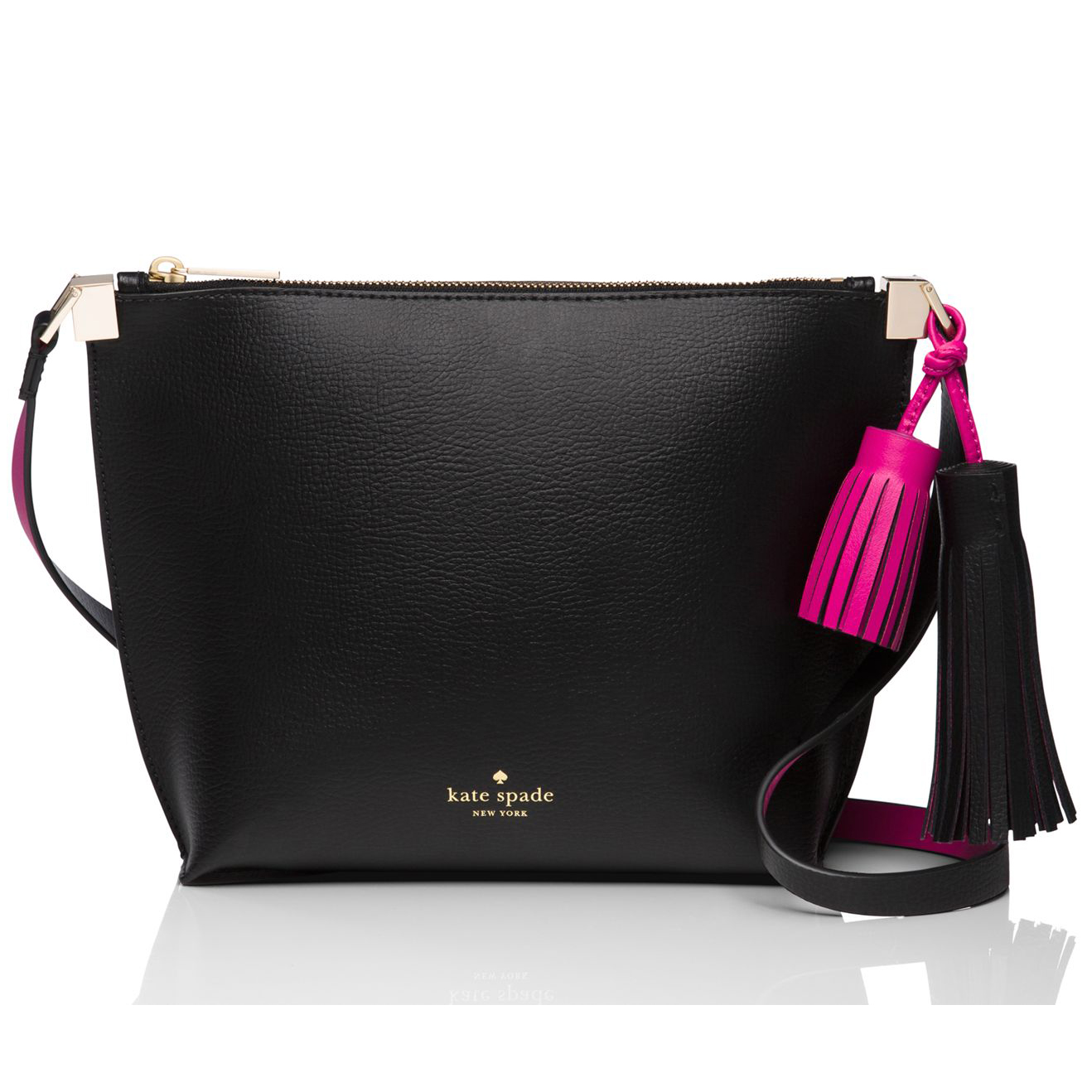 Kate Spade Crossbody Bag In Gift Box Foster Court Pepper Crossbody Shoulder Bag Black / Sweetheart Pink # WKRU3831