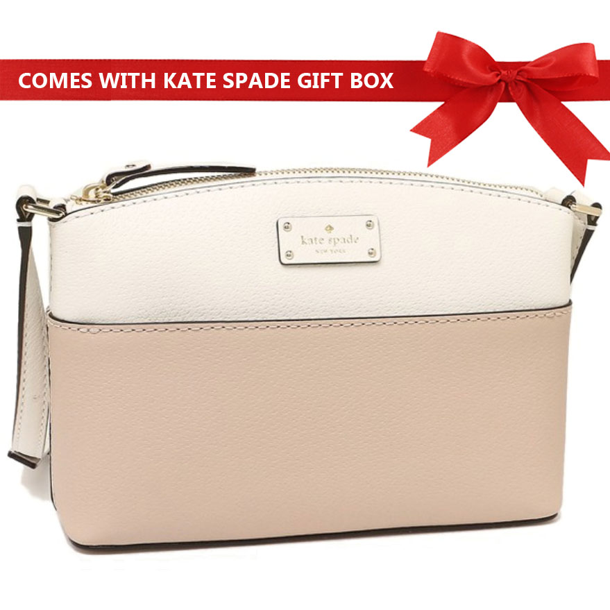 Kate Spade Crossbody Bag In Gift Box Grove Street Millie Beige / Cement White # WKRU4194
