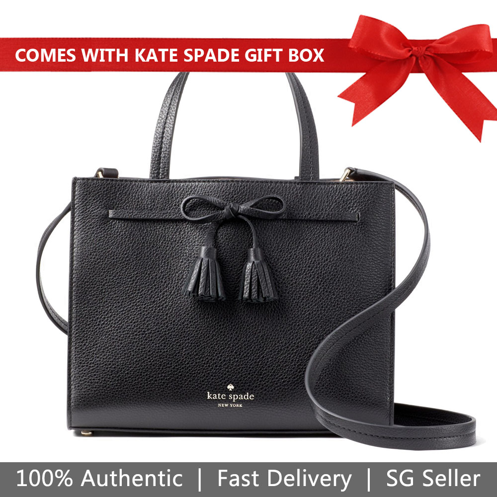Kate Spade Crossbody Bag In Gift Box Hayes Small Satchel Black / Warm Vellum # WKRU5775