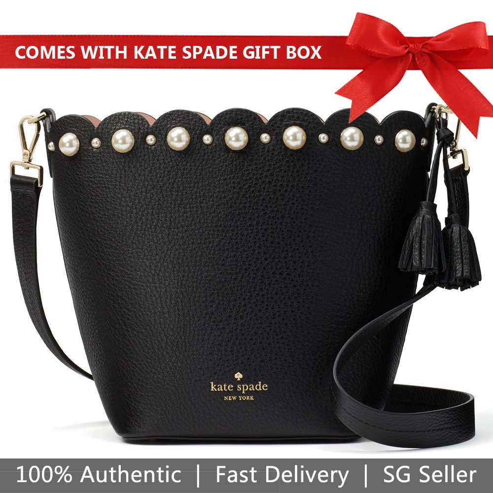 Kate Spade Crossbody Bag In Gift Box Hayes Street Vanessa Pearl Black # PXRUA087
