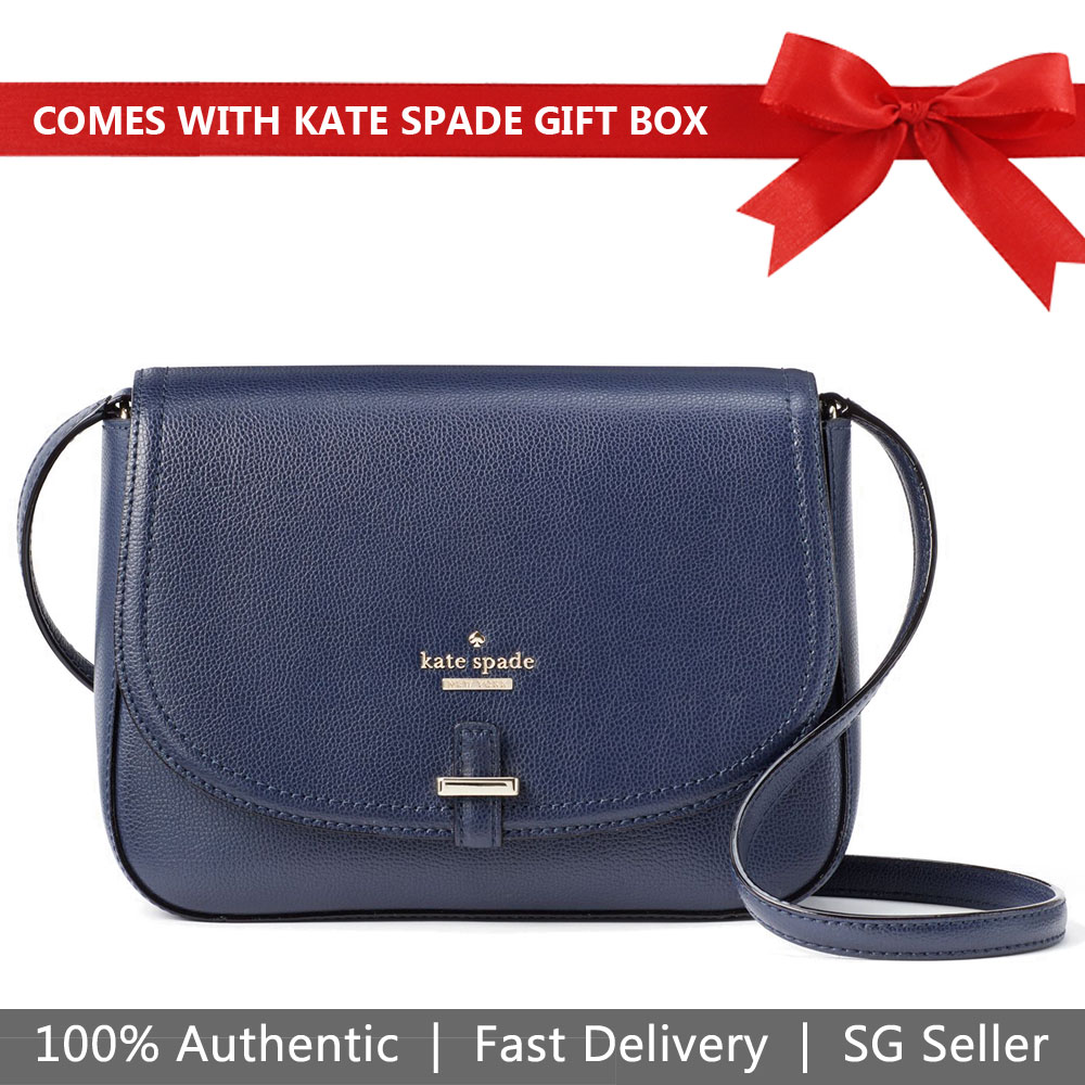 Kate Spade Crossbody Bag In Gift Box Patterson Drive Kailey Oceano Navy Dark Blue # WKRU5193