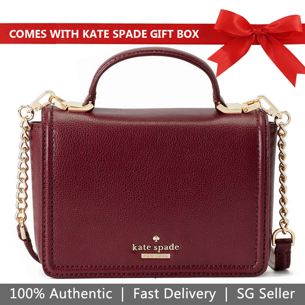 Kate Spade Crossbody Bag In Gift Box Patterson Drive Maisie Black Cherry # WKRU5661