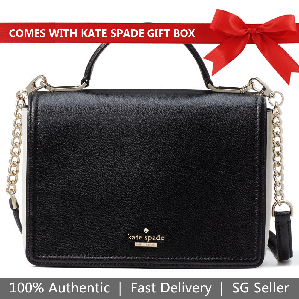 Kate Spade Crossbody Bag In Gift Box Patterson Drive Medium Maisie Black / Cement # WKRU5768