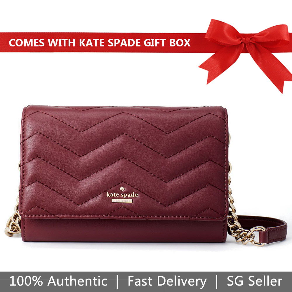 Kate Spade Crossbody Bag In Gift Box Reese Park Wyn Cherrywood # PXRU9225