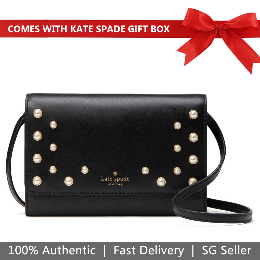 Kate Spade Crossbody Bag In Gift Box Serrano Place Pearl Summer Black # WLRU5134