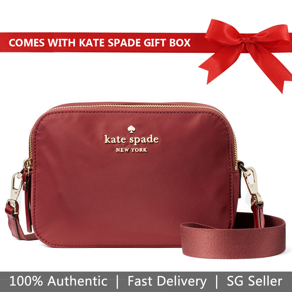 Kate Spade Crossbody Bag In Gift Box Watson Lane Amber Camera Bag Dark Currant Red # PXRU9283