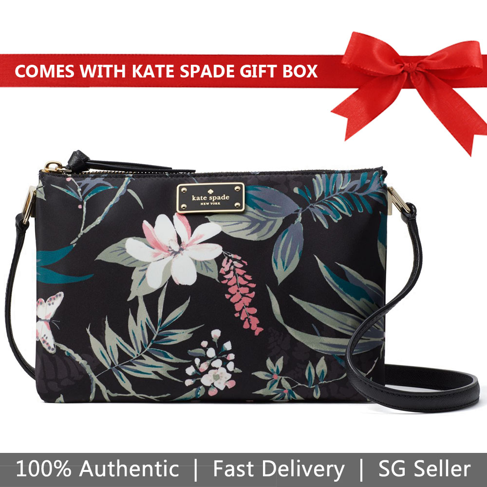 Kate Spade Crossbody Bag In Gift Box Wilson Road Botanical Madelyne Black # WKRU5752