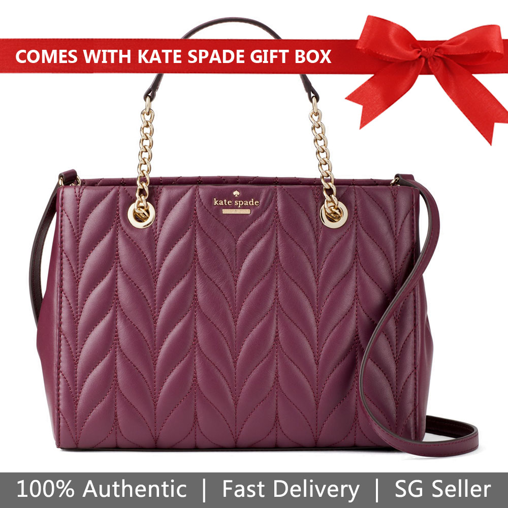 Kate Spade Crossbody Bag Meena Briar Lane Quilted Deep Plum Purple # WKRU5575