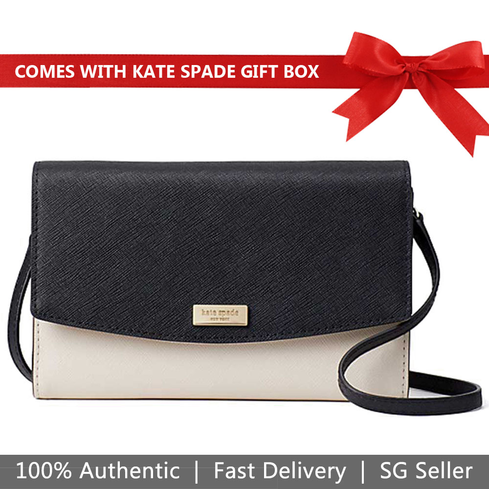 Kate Spade Crossbody Bag Wallet In Gift Box Laurel Way Winni Wallet Crossbody Bag Cement White / Black / Pumice Beige Nude # WLRU4800