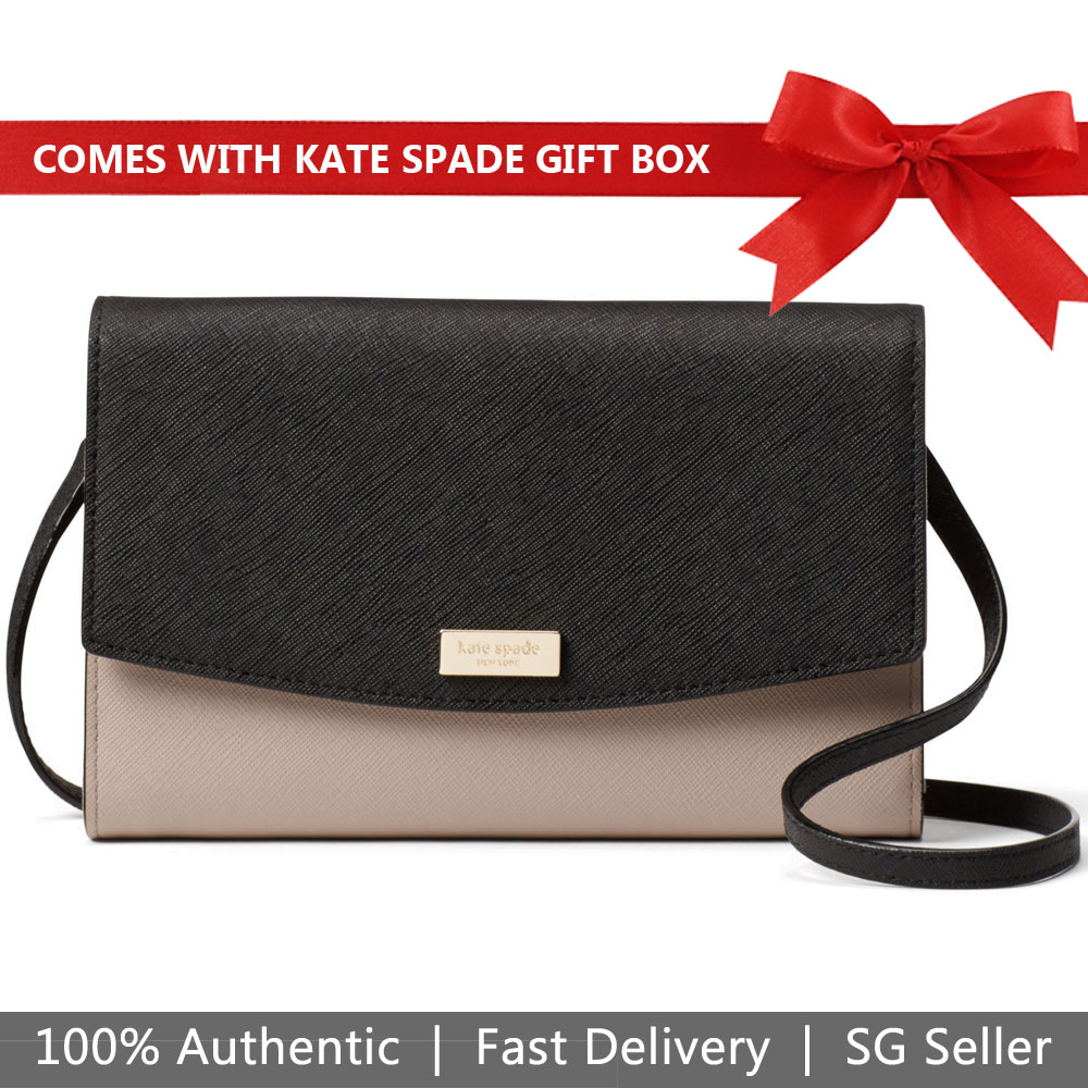 Kate Spade Crossbody Bag Wallet Laurel Way Winni Almondine Nude Beige / Black # WLRU2976