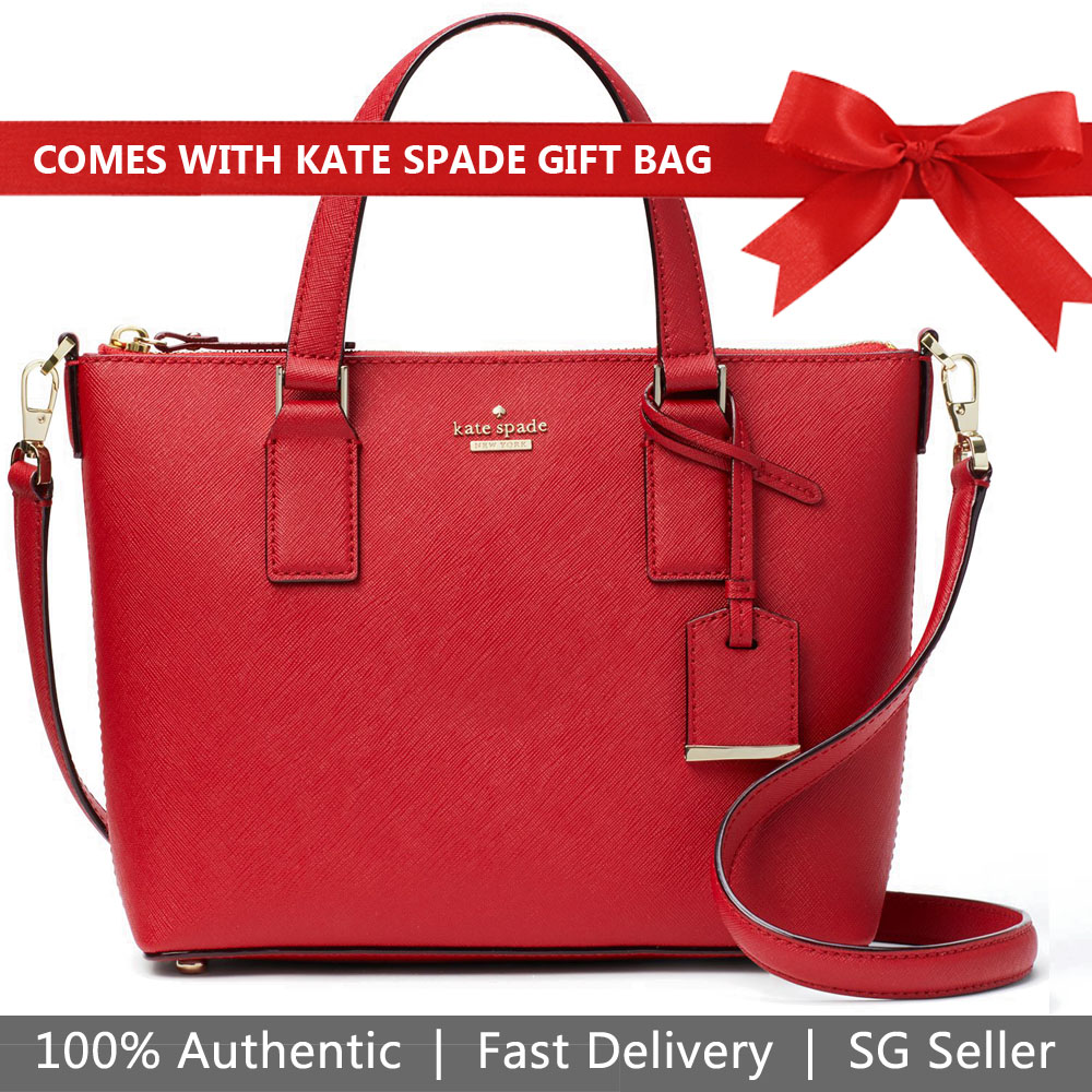 Kate Spade Crossbody Bag With Gift Bag Cameron Street Lucie Crossbody Heirloom Red # PXRU7698