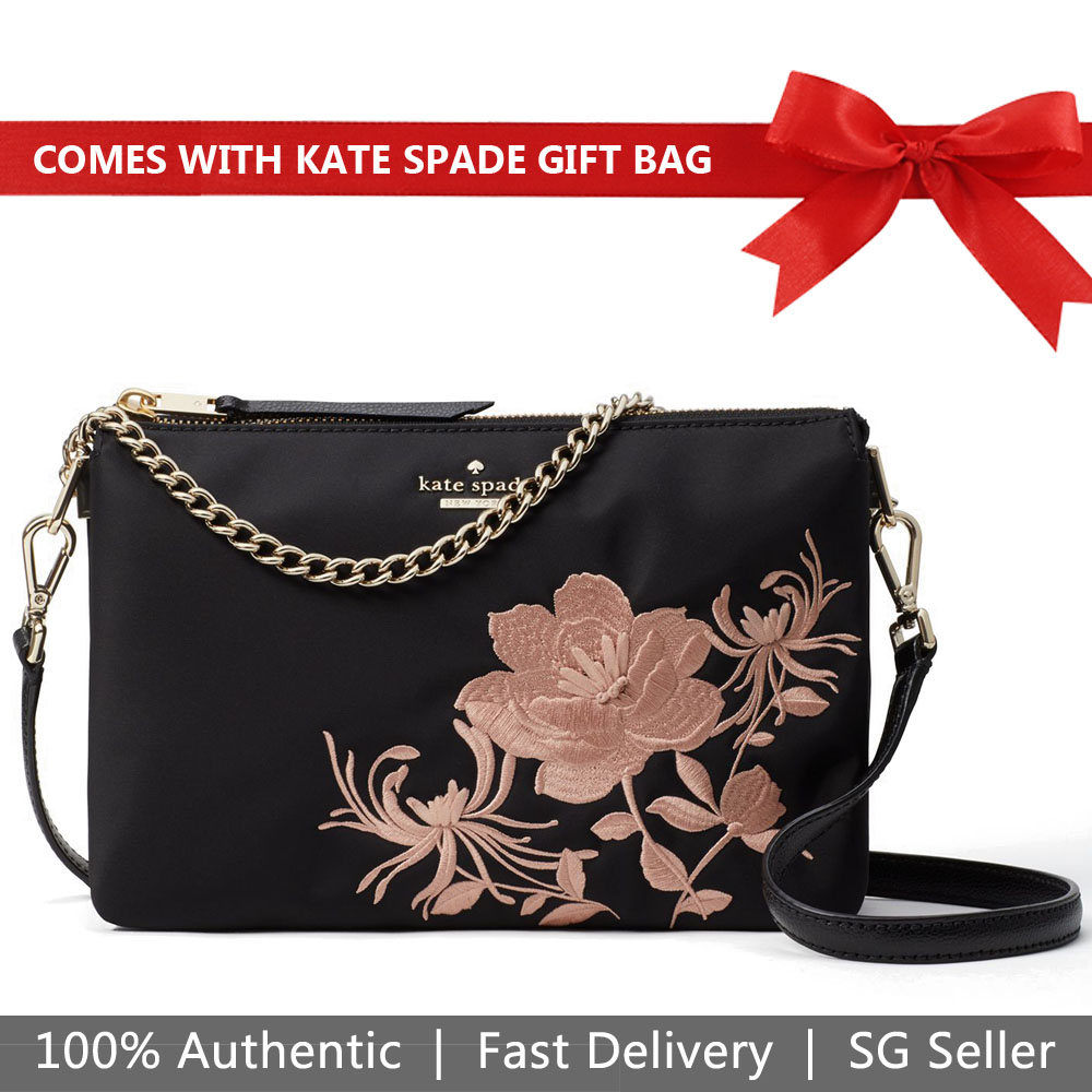 Kate Spade Crossbody Bag With Gift Bag Dawn Place Embroidered Madelyne Black / Warm Vellum # WKRU5715