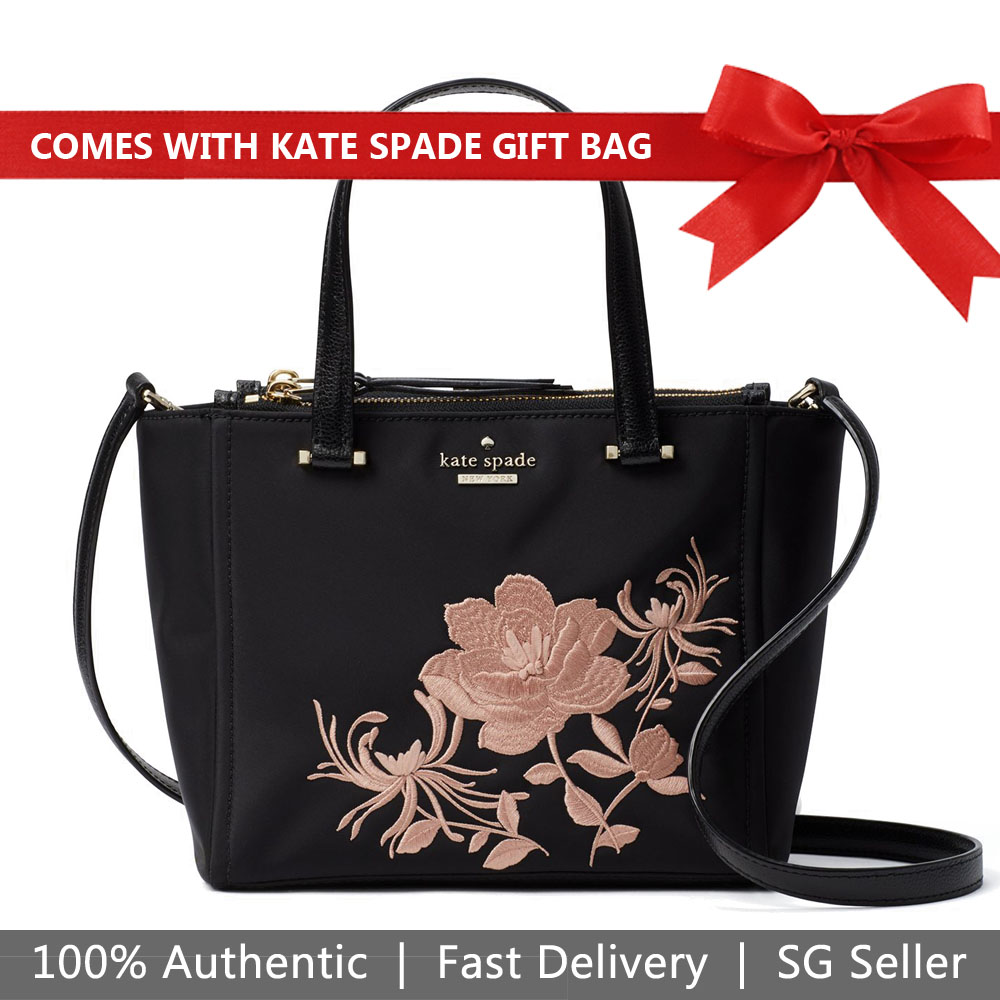 Kate Spade Crossbody Bag With Gift Bag Dawn Place Embroidered Mini Kona Black / Warm Vellum # WKRU5713