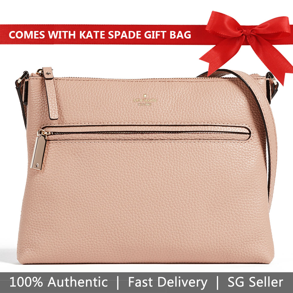 Kate Spade Crossbody Bag With Gift Bag Hopkins Street Gabrielle Brown Sugar Nude Beige # PXRU7825