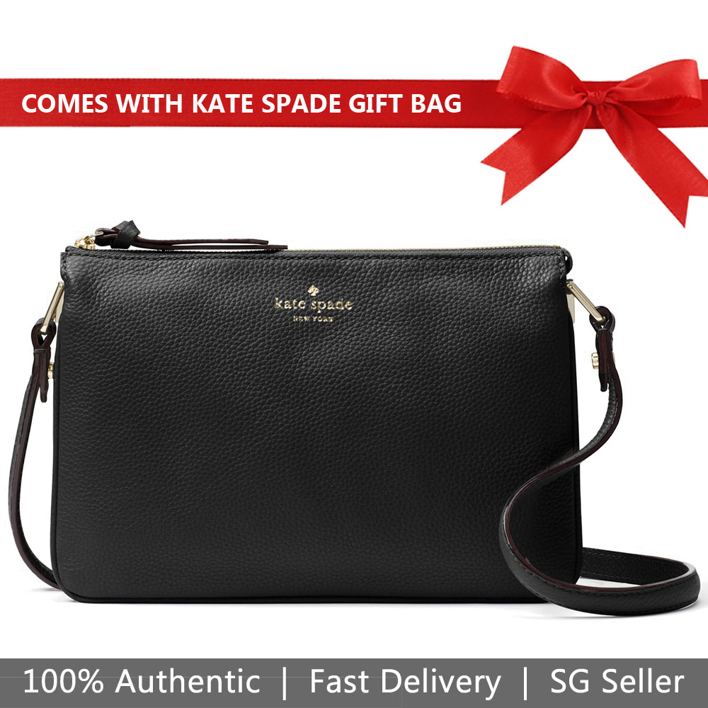 Kate Spade Crossbody Bag With Gift Bag Larchmont Avenue Madelyne Black # WKRU5503