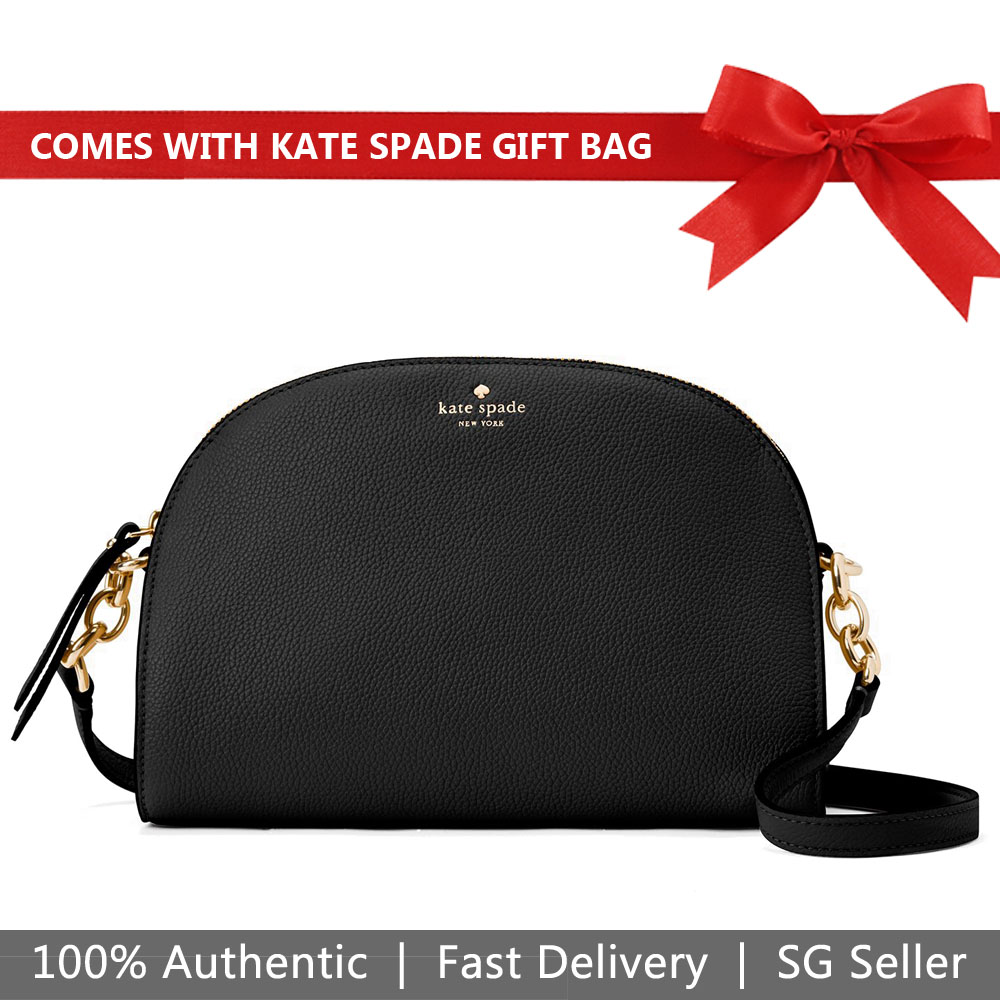 Kate Spade Crossbody Bag With Gift Bag Larchmont Avenue Tori Dome Black # WKRU5765