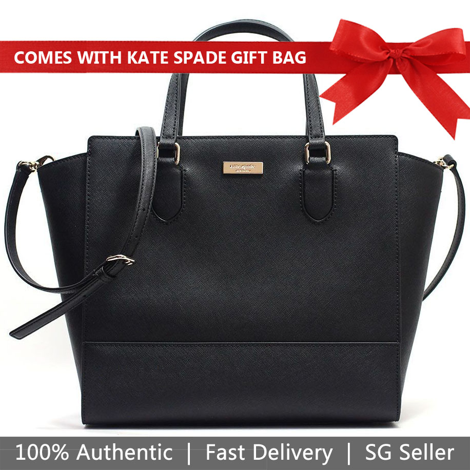 Kate Spade Crossbody Bag With Gift Bag Laurel Way Hadlee Satchel Crossbody Bag Black # WKRU5317