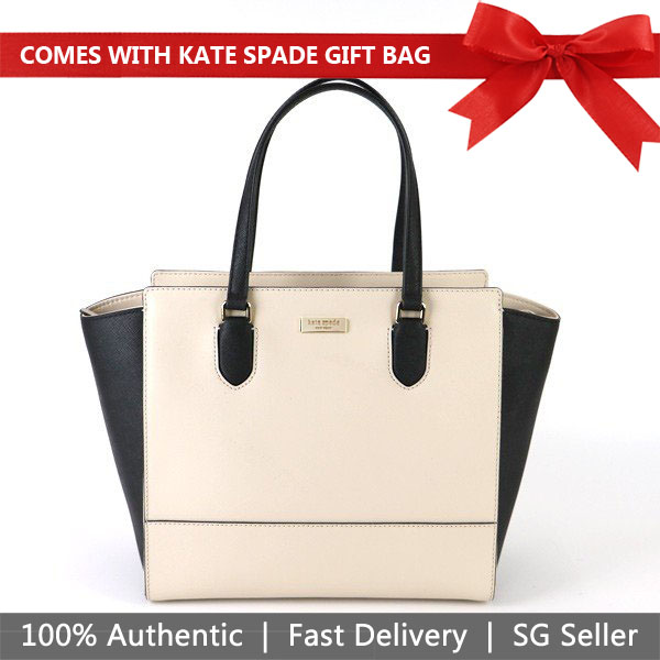 Kate Spade Crossbody Bag With Gift Bag Laurel Way Hadlee Satchel Crossbody Bag Soft Porcelein / Black # WKRU5306
