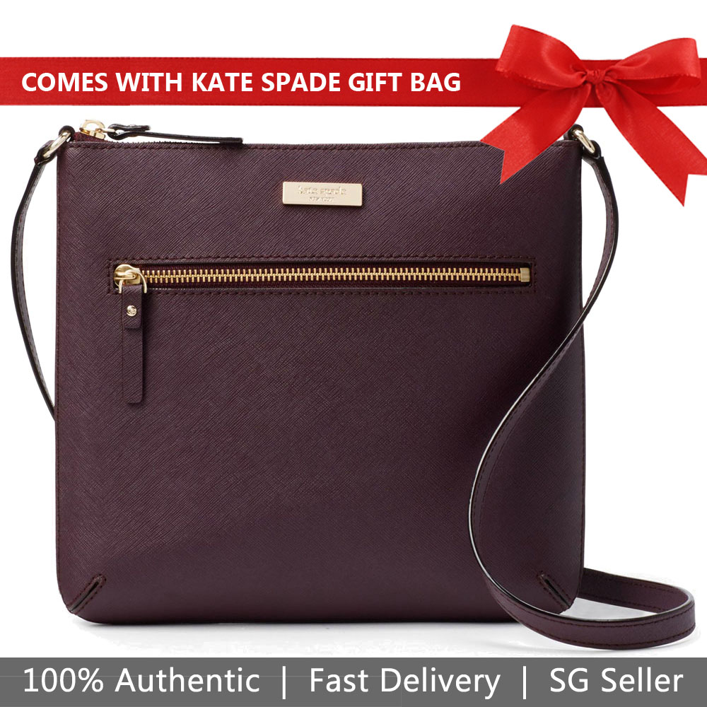 Kate Spade Crossbody Bag With Gift Bag Laurel Way Rima Deep Plum Purple # WKRU4496