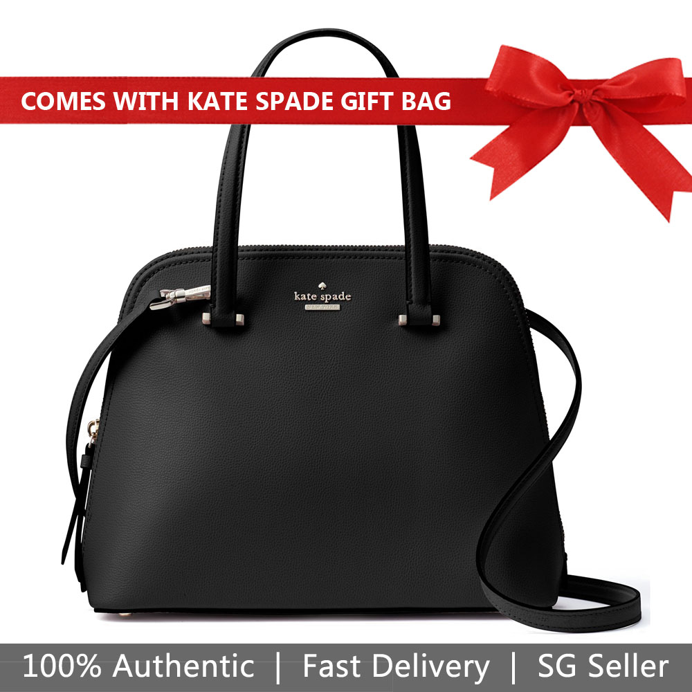 Kate Spade Crossbody Bag With Gift Bag Patterson Drive Medium Dome Satchel Shoulder Bag Black # WKRU5897