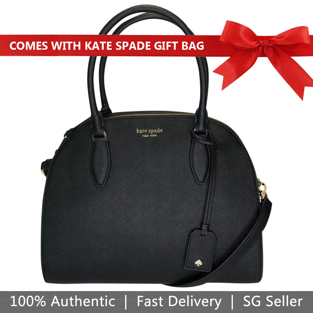 Kate Spade Crossbody Bag With Gift Bag Reiley Large Dome Satchel Black # WKRU5885