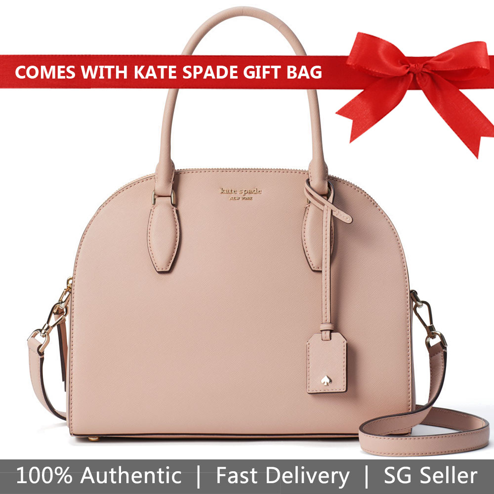Kate Spade Crossbody Bag With Gift Bag Reiley Large Dome Satchel Warmvellum Beige Nude # WKRU5885