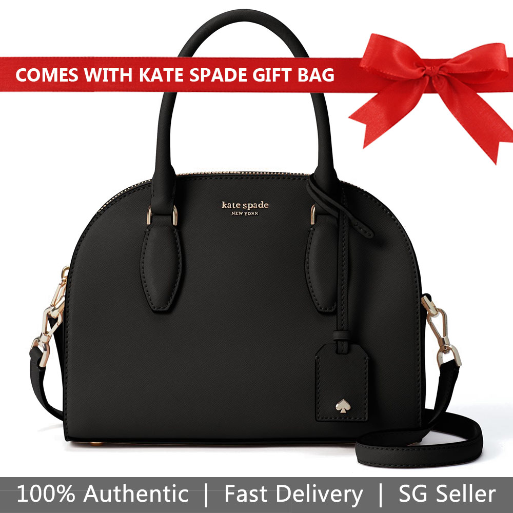 Kate Spade Crossbody Bag With Gift Bag Reiley Medium Dome Satchel Black # WKRU5886