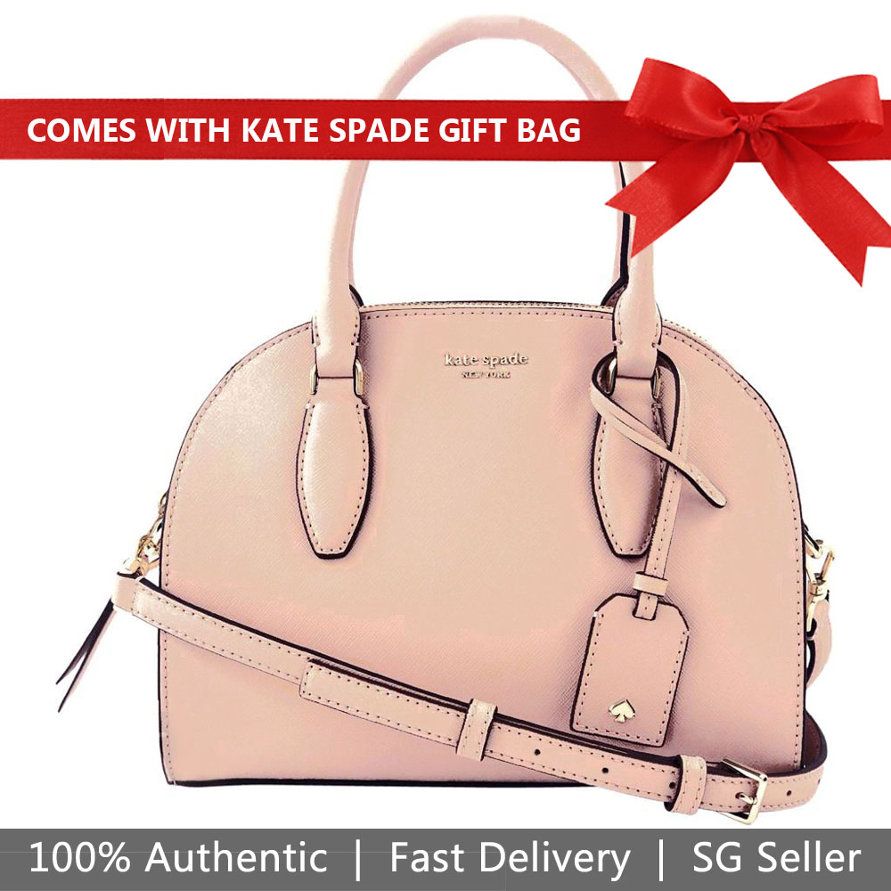Kate Spade Crossbody Bag With Gift Bag Reiley Medium Dome Satchel Warmvellum Beige Nude # WKRU5886