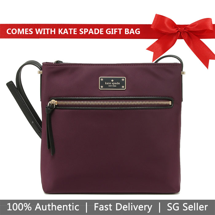 Kate Spade Crossbody Bag With Gift Bag Wilson Road Dessi Deep Plum Purple # WKRU4713