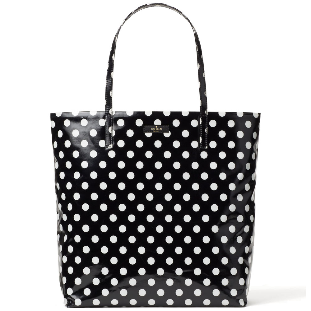 Kate Spade Daycation Bon Shopper Tote Bag Black / Cream White Dot # WKRU4540