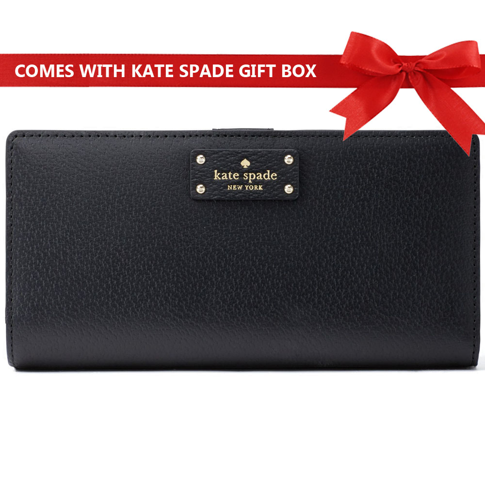 Kate Spade Grove Street Large Stacy Continental Wallet Black # WLRU2817