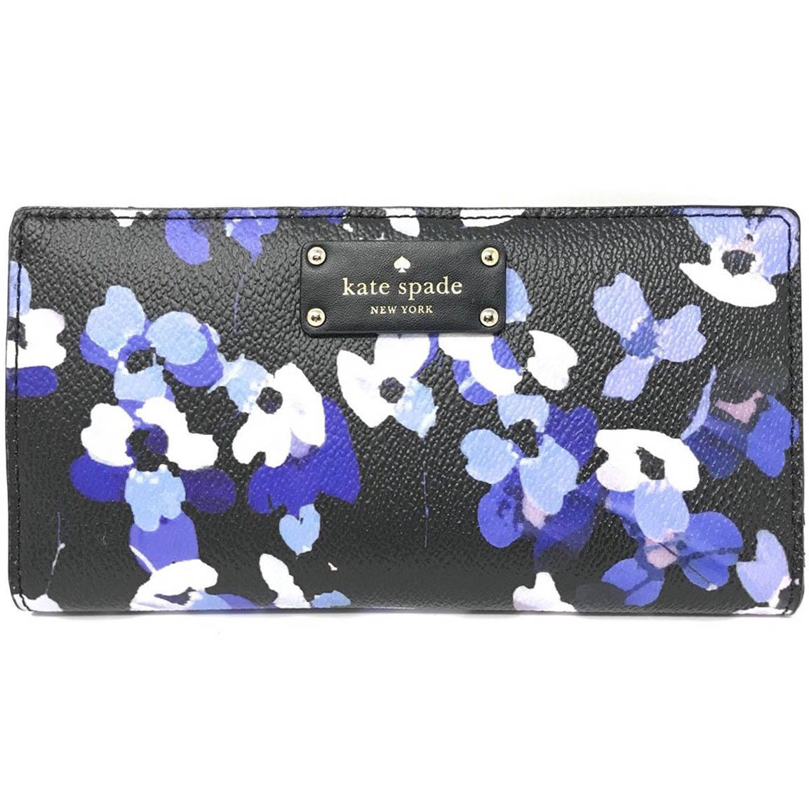 Kate Spade Grove Street Printed Stacy Wallet Black / Blue Flowers # WLRU3006