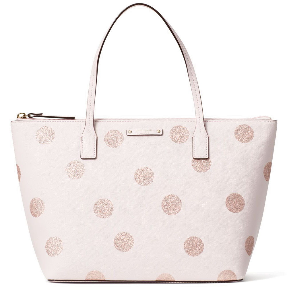 Kate Spade Haven Lane Hani Tote Pink Glitter Dots # WKRU4119