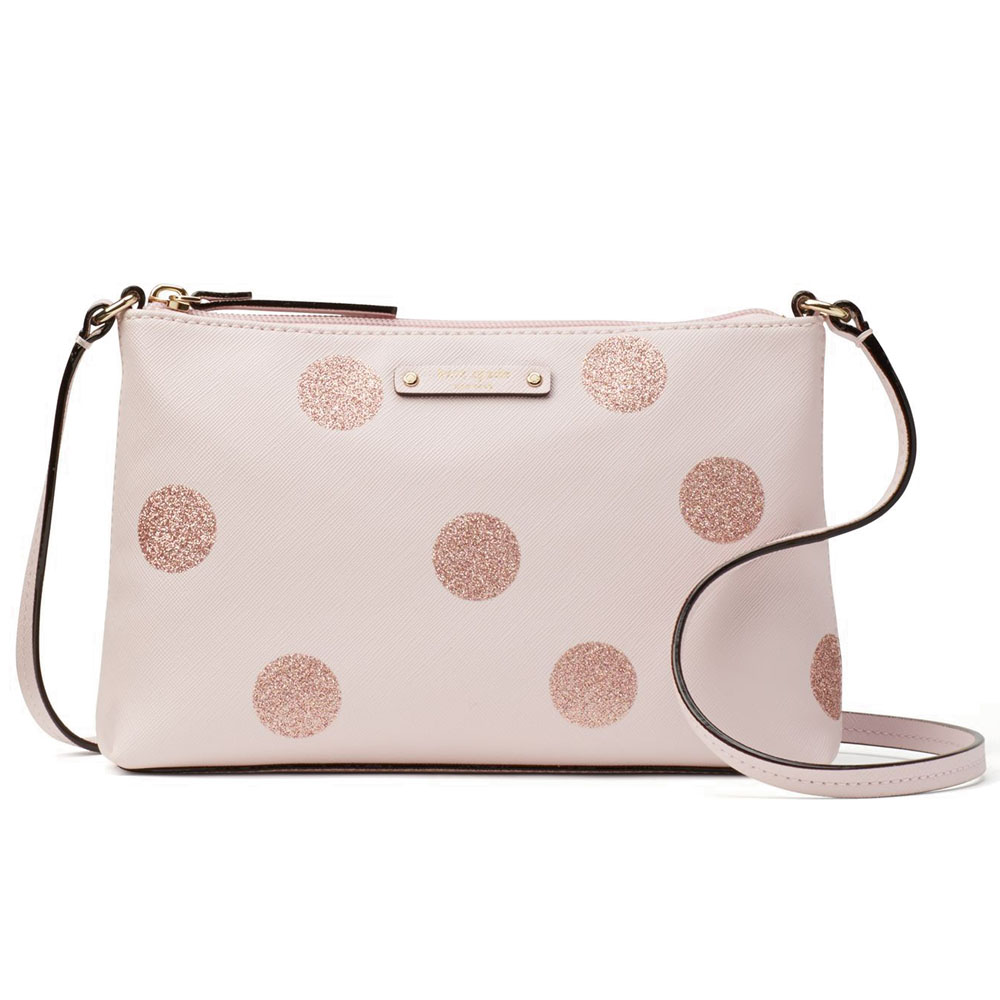 Kate Spade Haven Lane Ramey Crossbody Bag Pink Glitter Dots # WKRU4122