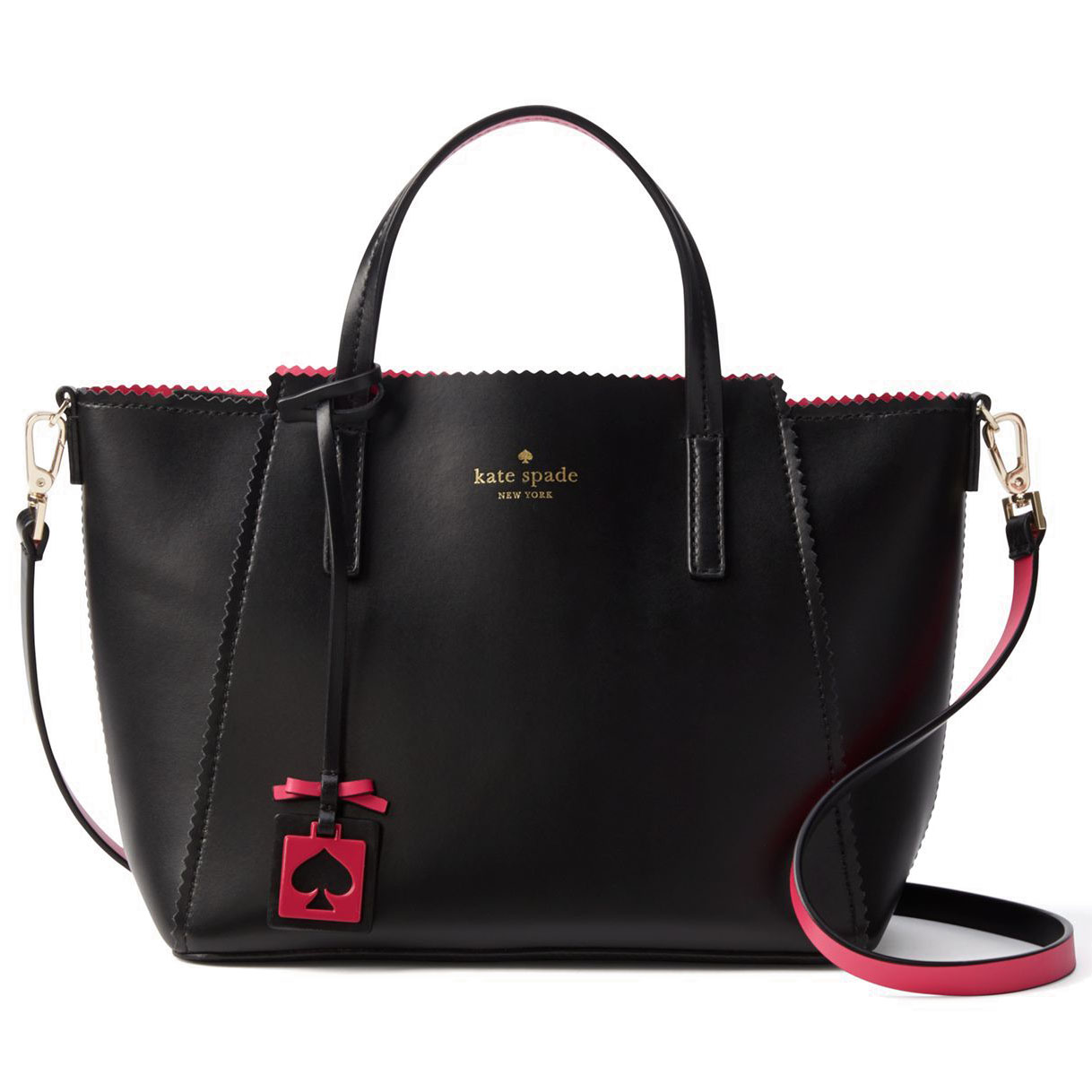 Kate Spade Ivy Drive Small Loryn Crossbody Bag Black / Sweetheart Pink # WKRU3239
