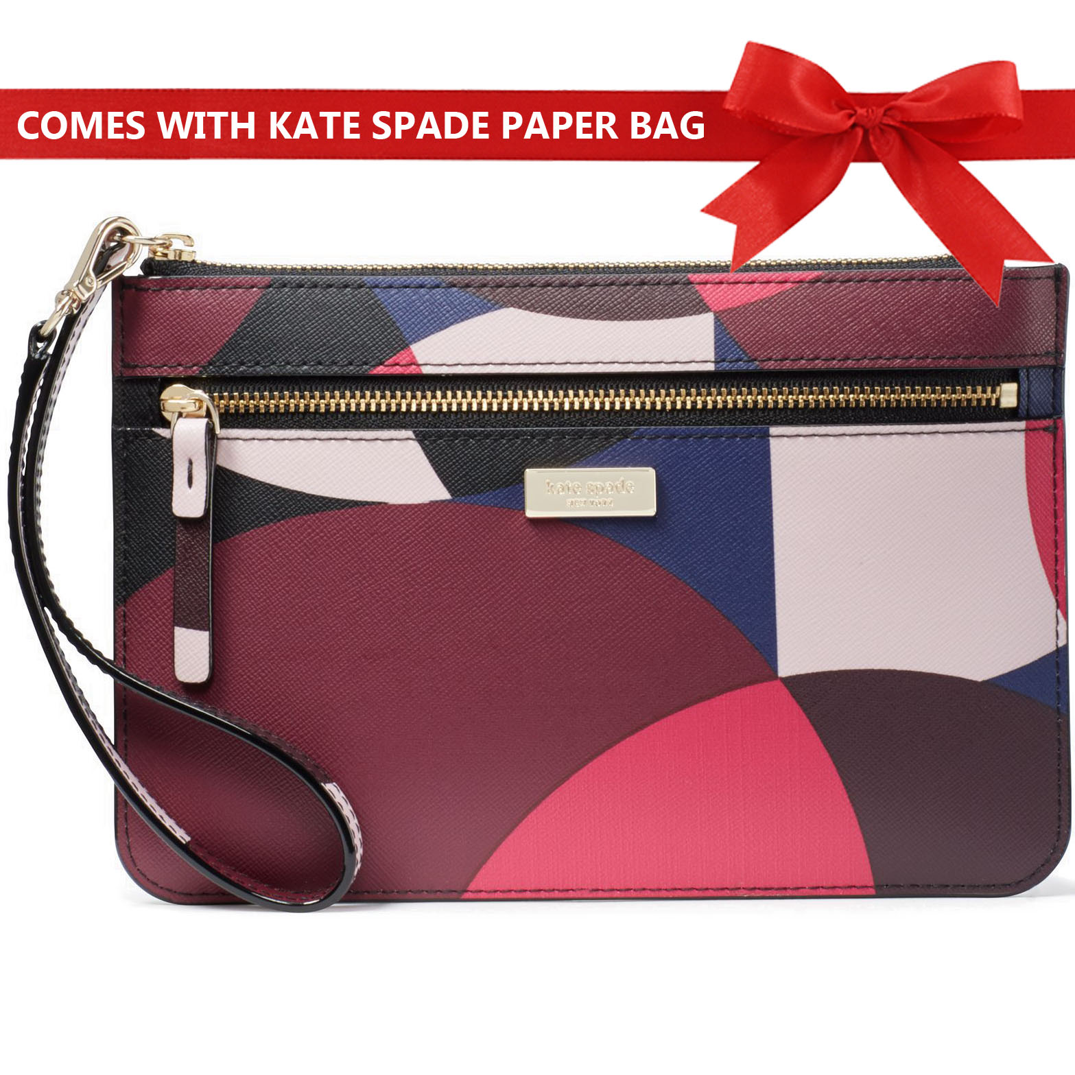 Kate Spade Laurel Way Geo Spotlight Tinie Wristlet Pink Multi # WLRU3325