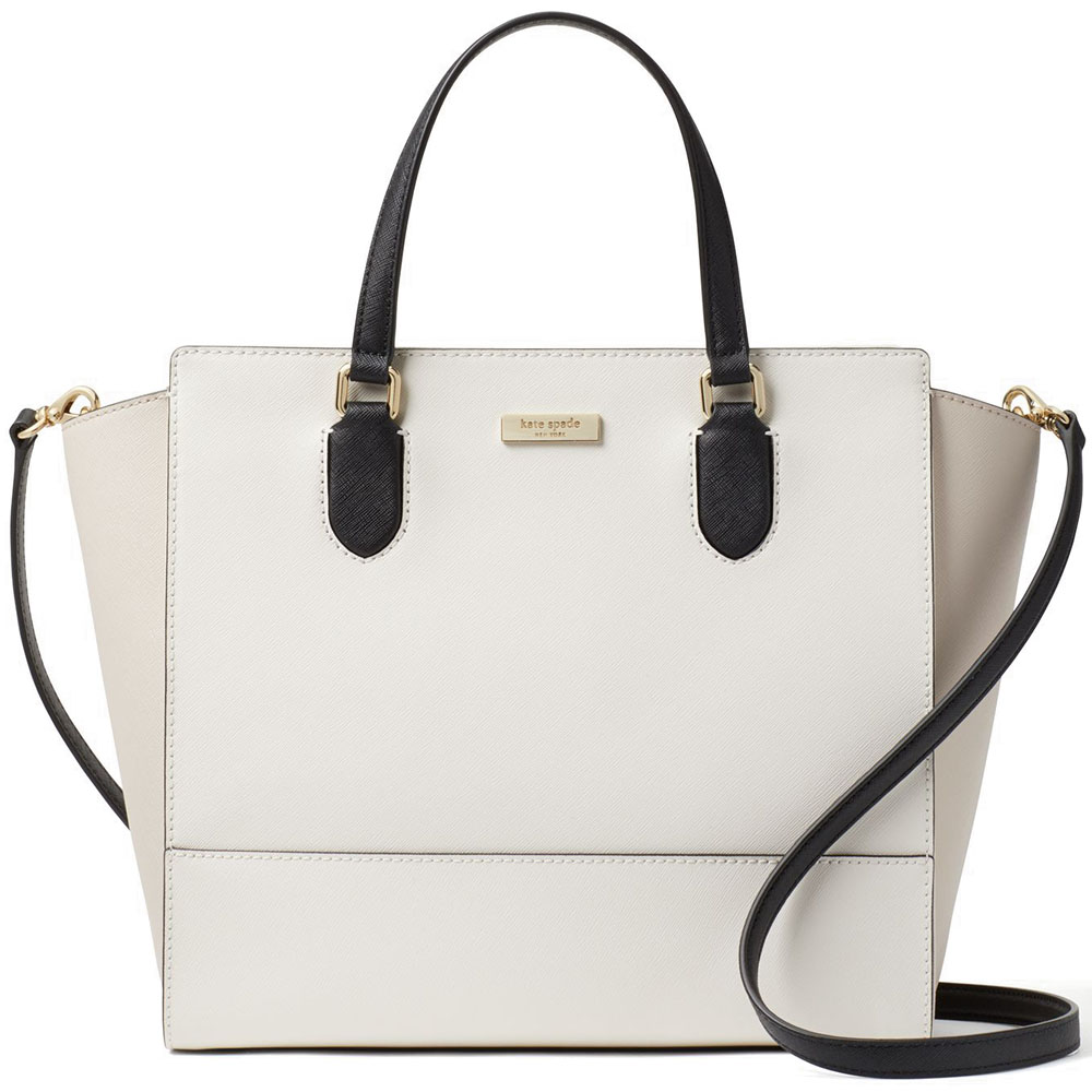 Kate Spade Laurel Way Hadlee Cement White / Black / Pumice Beige Nude # WKRU5294
