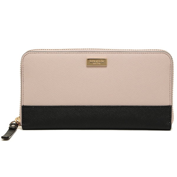 Kate Spade Laurel Way Neda Zip Around Continental Long Wallet Black / Almondine Nude Beige # WLRU2670