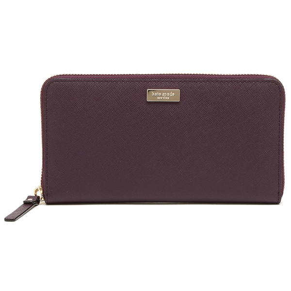 Kate Spade Laurel Way Neda Zip Around Continental Long Wallet Mahogany Purple # WLRU2669