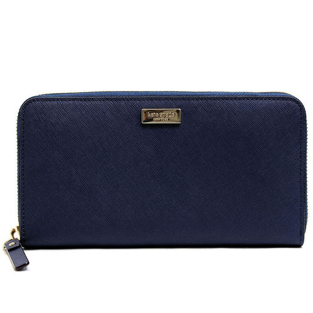 Kate Spade Laurel Way Neda Zip Around Continental Long Wallet Offshore Navy # WLRU2669