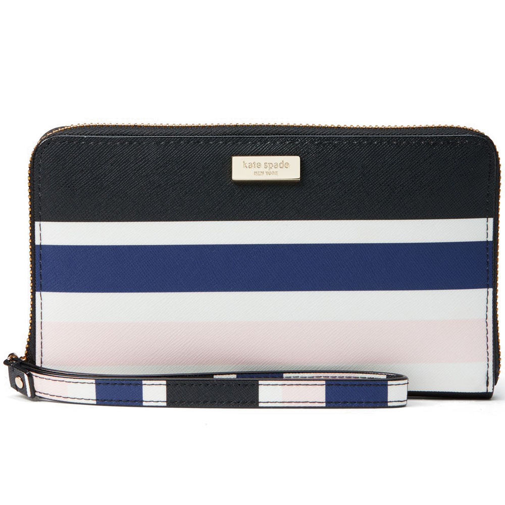 Kate Spade Laurel Way Printed Alvy Wallet Wristlet Cruise Blue Stripes # WLRU3105
