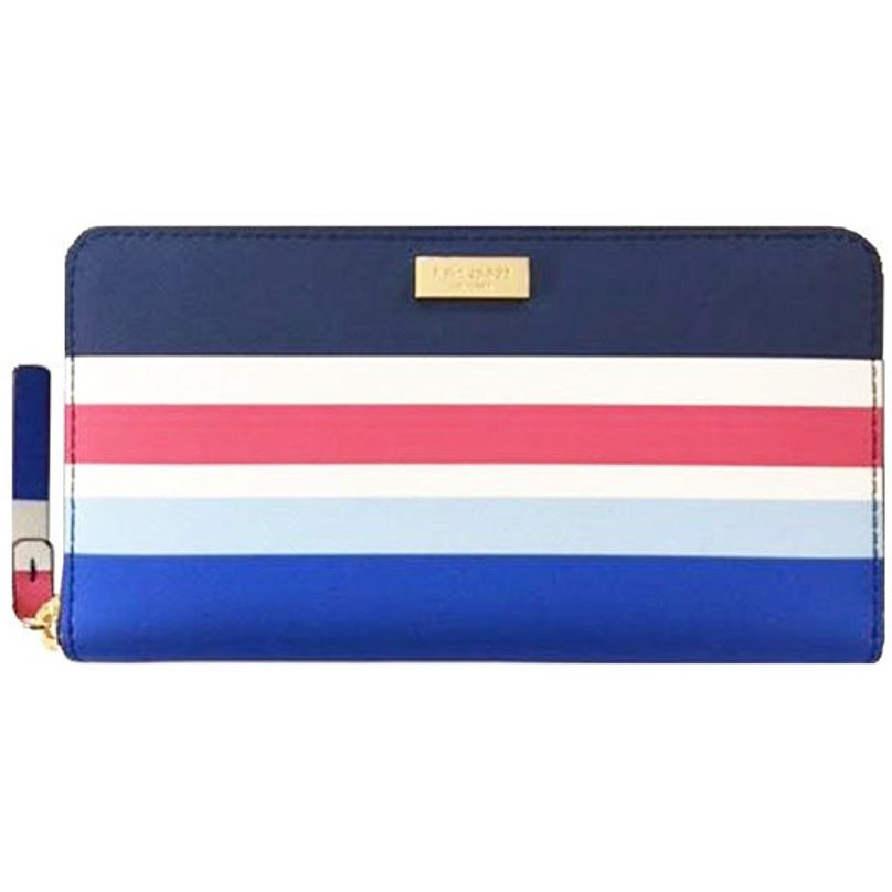 Kate Spade Laurel Way Printed Neda Long Continental Wallet Blue Stripes # WLRU2914
