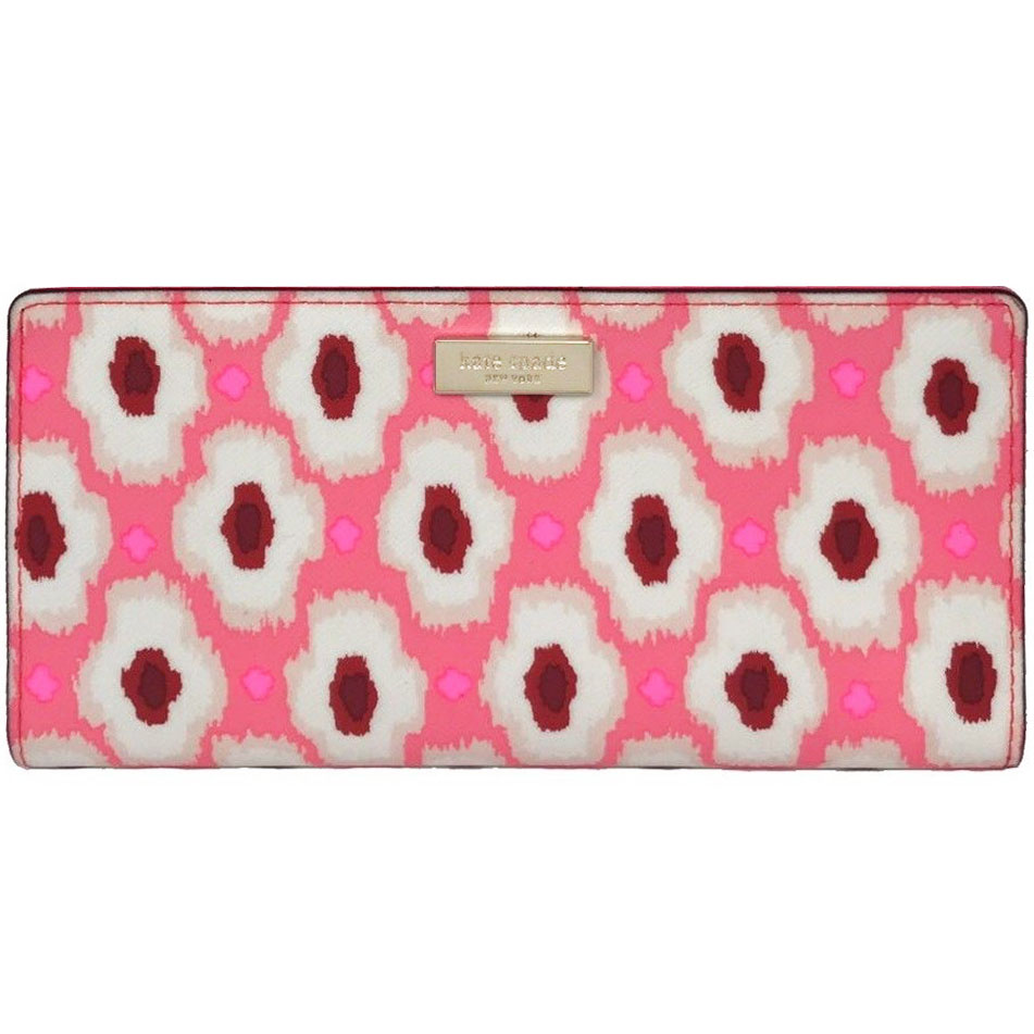 Kate Spade Laurel Way Printed Stacy Wallet Pink Multi # WLRU2916