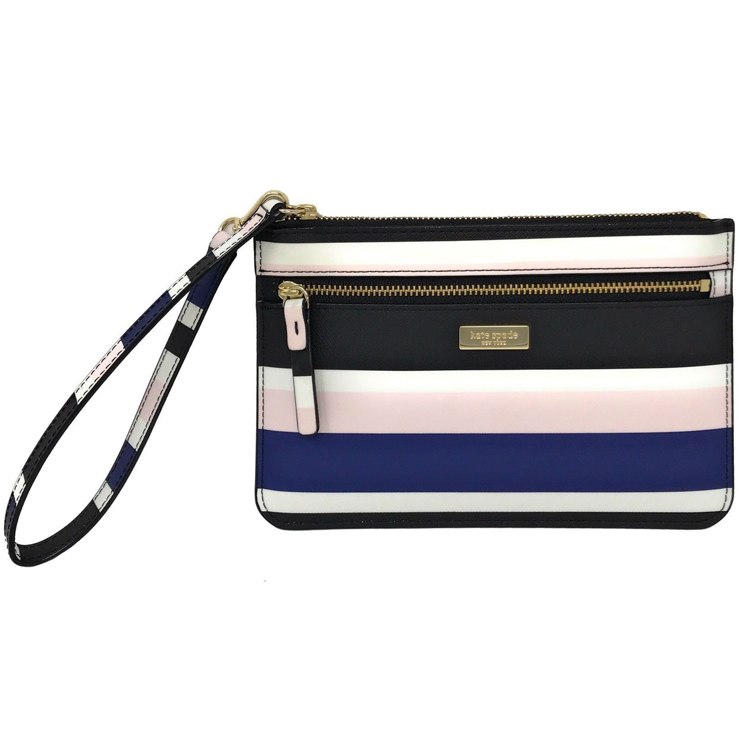 Kate Spade Laurel Way Printed Tinie Wristlet Blue Cruise Stripes # WLRU3028